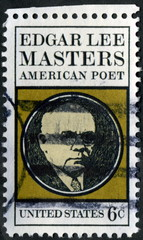 United States. Edgard Lee Masters. American Poet. Timbre.
