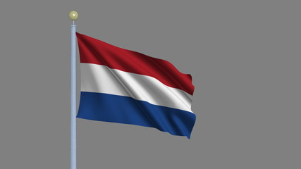 Flag of Netherlands with alpha matte for easy isolation