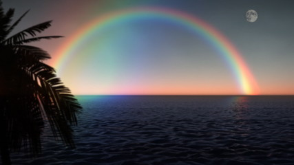 Rainbow Ocean with Palm Tree and Moon at Sunset (1033)