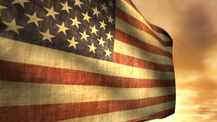 Old Glory. Nice animation of worn out American Flag (1040)