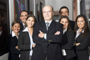 Businessman and his teamwork
