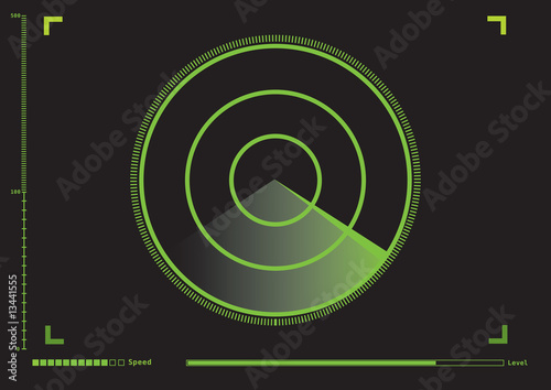 Radar meter in vector graphic.
