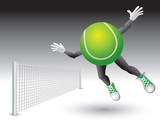 Tennis ball cartoon character with net