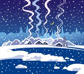 Winter dark blue evening landscape