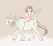 Cute little fairy riding on a horse