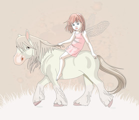 Cute little fairy riding on a horse