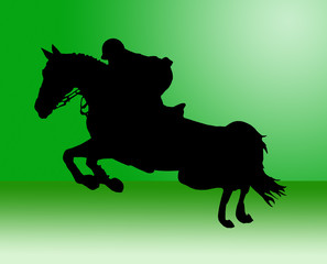 cavallo che salta in verde