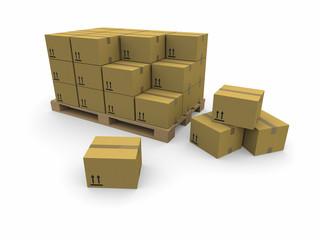 Scena 3d con scatoloni disposti su un pallet