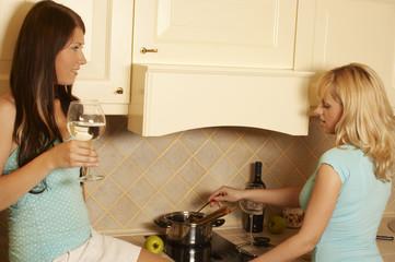 two women in kitchen