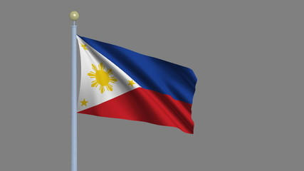 Flag of Philippines with alpha matte for easy isolation