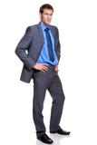 Businessman full length grey pinstripe suit poster