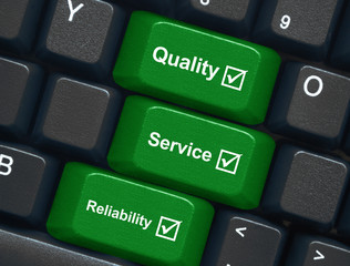 """Quality, Service & Reliability"" keys on keyboard"