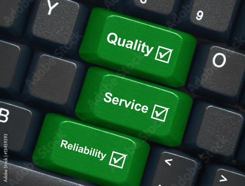 """Quality, Service & Reliability"" keys on keyboard"