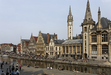 Quai des herbes (graslei) - Centre Historique de Gand, Belgique
