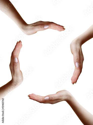 circle of four hands on white background