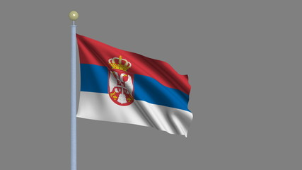 Flag of Serbia with alpha matte for easy isolation