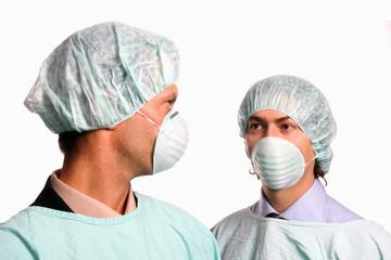 Nurses over white background