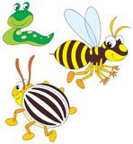 Wasp, potato beetle and slug poster
