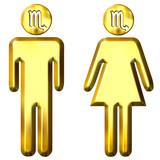 3d golden Scorpio man and woman poster