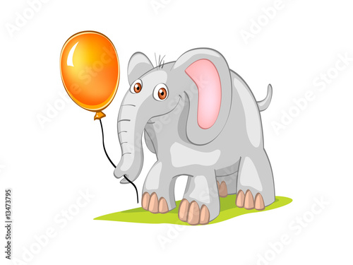 elephant with orange ball (editable layers)