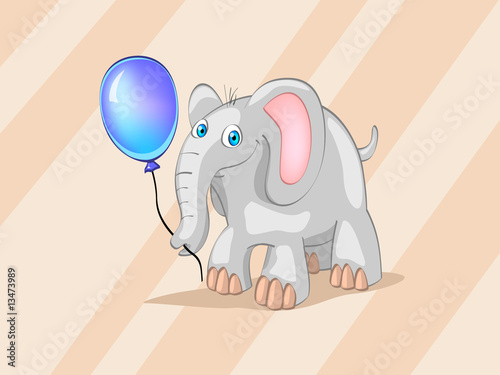 elephant with blue ball (editable layers)