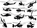 big collection of helicopters - vector