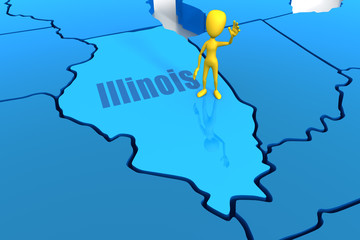 Illinois state outline with yellow stick figure