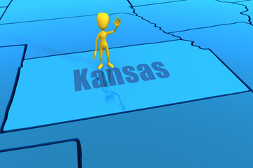Kansas state outline with yellow stick figure