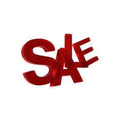 Sale - red glass sign.