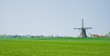 Dutch polder landscape with mill and farms