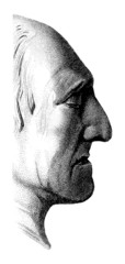 Profile of the man in old style
