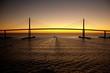 canvas print picture - Bridge at sunset