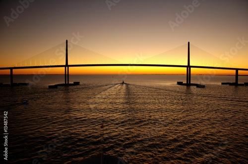 canvas print picture Bridge at sunset