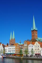 Lübeck Untertrave Ufer mit Kirchen