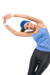 Young happy woman doing fitness exercises, isolated