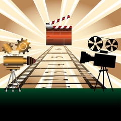 Movie projectors and clapboard