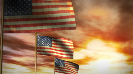 American Flags against Sunset Time lapse (1043)