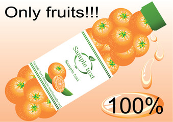 vectorial banner of natural orange drink
