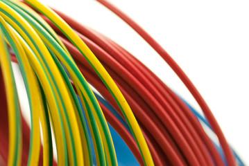image d'une bobine de fil électrique  rouge, bleu, vert - jaune