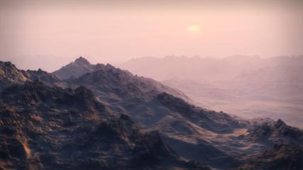 Wilderness Sunset across Snowy Mountain Landscape (1065)