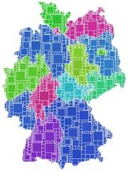Regioni della Germania a quadretti colorati