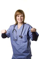 nurse holding blank sign