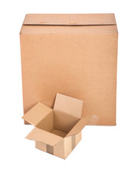 two cardboard boxes on white