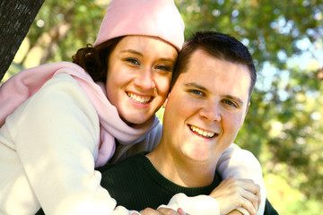 Smiling Romantic Couple Outdoor