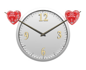 wall clock with two red hearts isolated on white