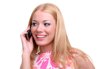 beautiful young girl talking over the phone