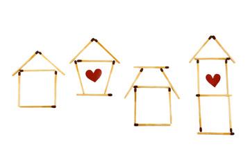 housing symbols isolated on white