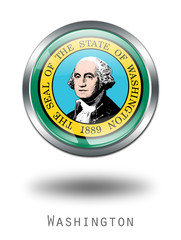 3D Washington Flag button illustration on a white background