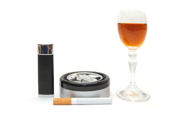 Dangerous items - cigarette, cognac, lighter