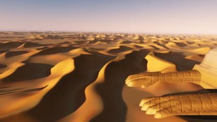 Desert sand dunes oasis, Sphinx in Sahara (1090)